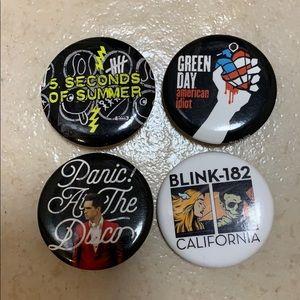 Pop Punk Band buttons set of 4!